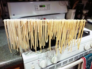 Cut pasta drying on the rack