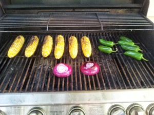 Corn, peppers & onions