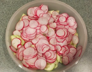 raw radish and cucumbers