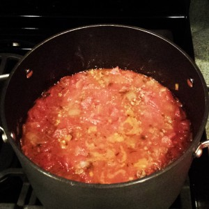 Sauce simmering