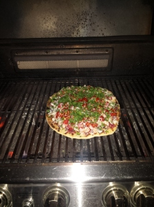 Spicy Shrimp Pizza on the grill