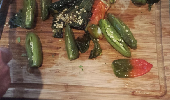 Roasted jalapeno, poblano and bell peppers