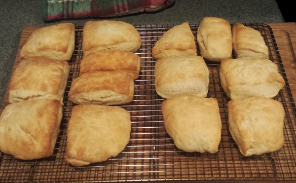 Homemade biscuits, buttermilk on the left, regular milk on the right.