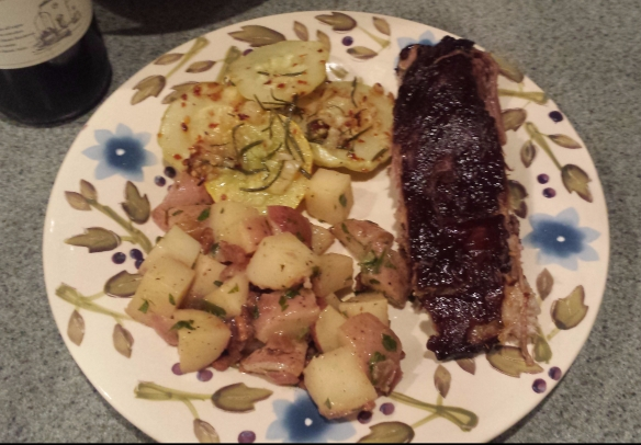 Smoked Ribs, Patty Pan squash and German Potato Salad