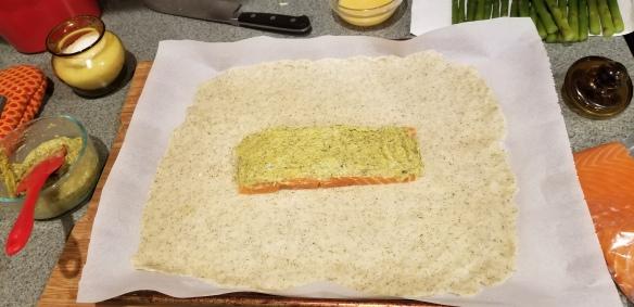 Asparagus cream sauce on the salmon filet.