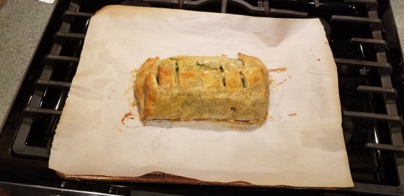 Egg wash on the salmon en croute after 10 minutes in the oven.