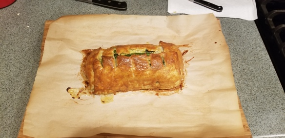 The finished salmon en croute.
