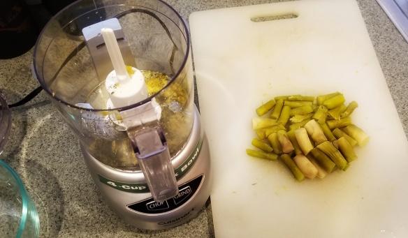 Making the asparagus sauce