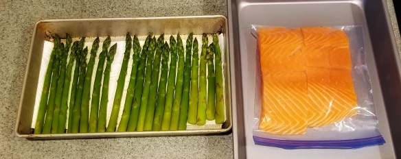 Salmon and trimmed asparagus