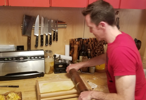 Here we are using the chitarra to cut the pasta.