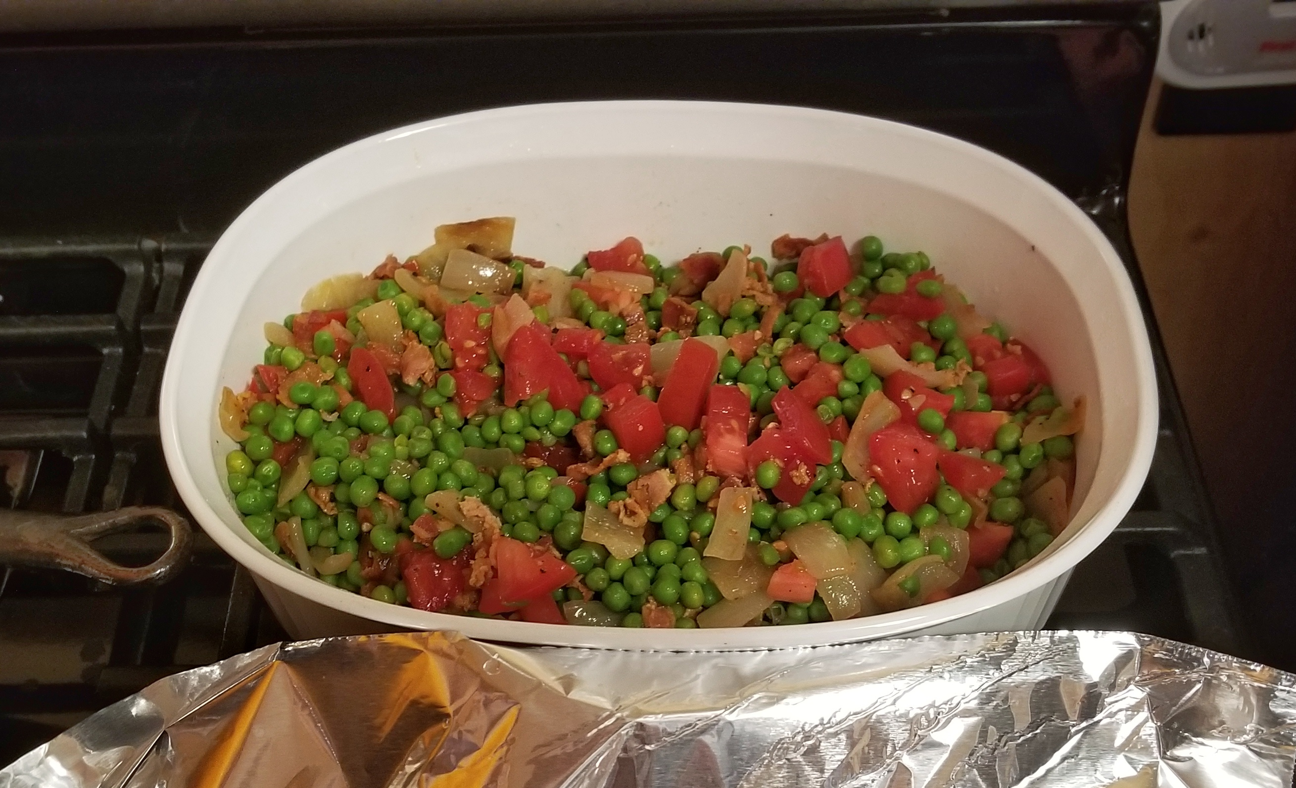Piselli e guanciale, otherwise known as peas and bacon.
