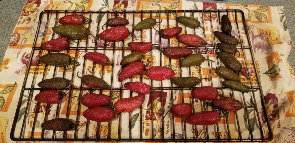 Jalapenos after they have been smoked.