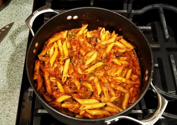 Fajita pasta with smoked jalapeno sauce.