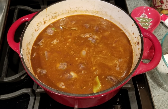 Here is the stew right after we added the beef broth, wine and water to the pot.