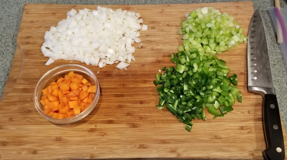 Vegetables for the soffritto to go into the black eyed pea soup.