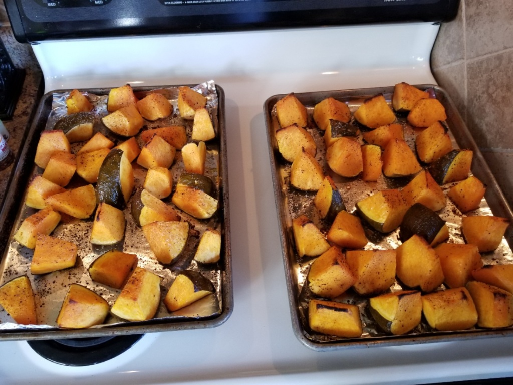 Here are the roasted pumpkin pieces after being roasted for about 1 hour.